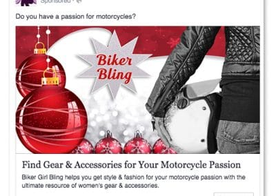 Biker Girl Bling Facebook Ad Campaign