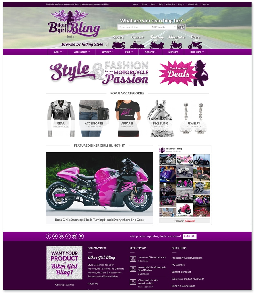 Biker Girl Bling Website