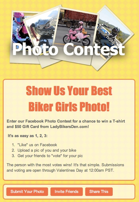 Biker Girls Facebook Contest